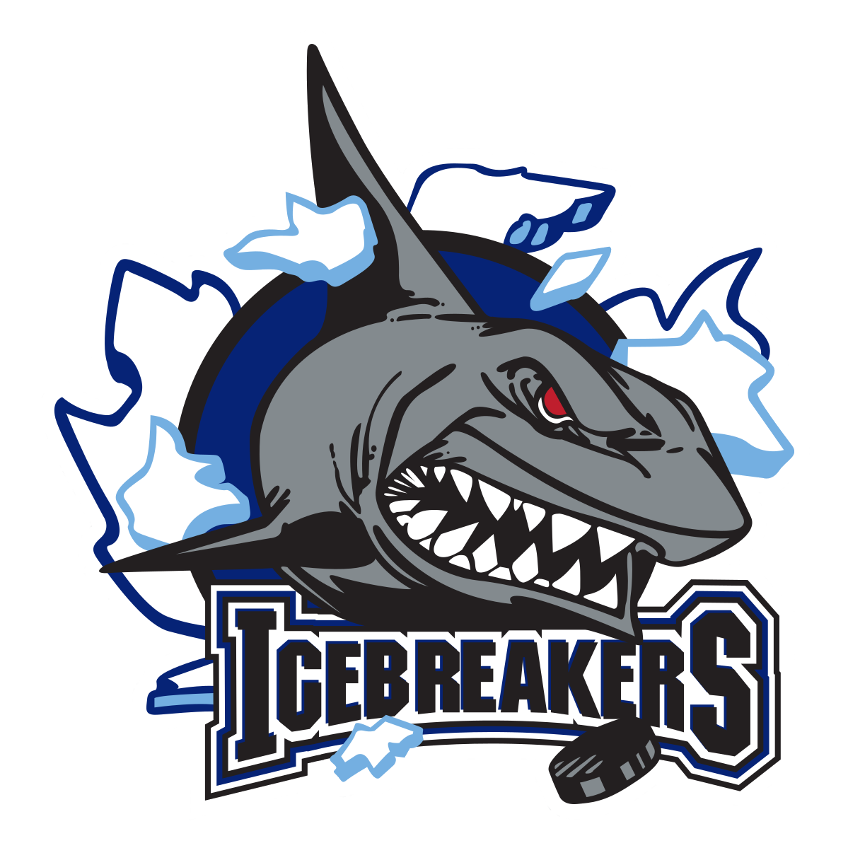 Shark breaking through ice with the words IceBreakers underneath